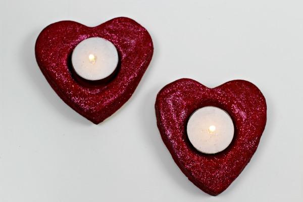 Salt Dough heart tealight holders dark red glitter
