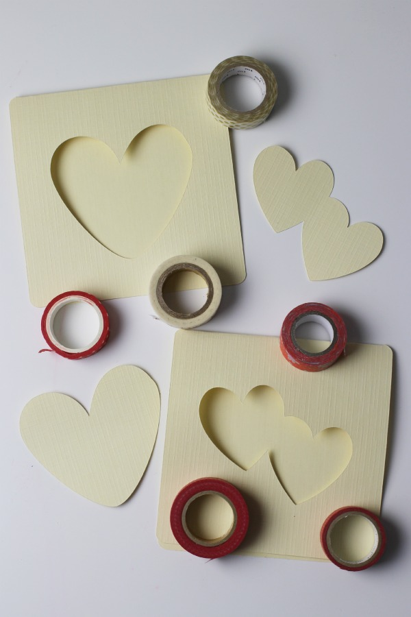 Washi tape heart cards resist