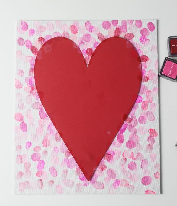 family fingerprint relief heart art canvas