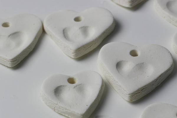 white clay hearts