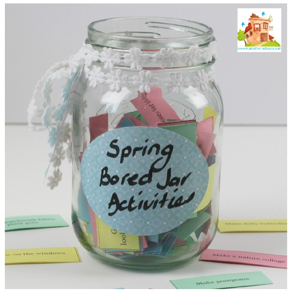 bored jar square springSpring Activities for Bored Jars. A 101 low cost or no cost spring activities for kids perfect for updating your bored jar. This printable list includes kids crafts, kids activities, family fun and chores too.