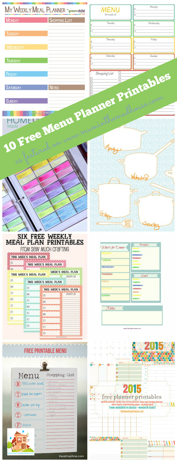 10 free menu planning printables