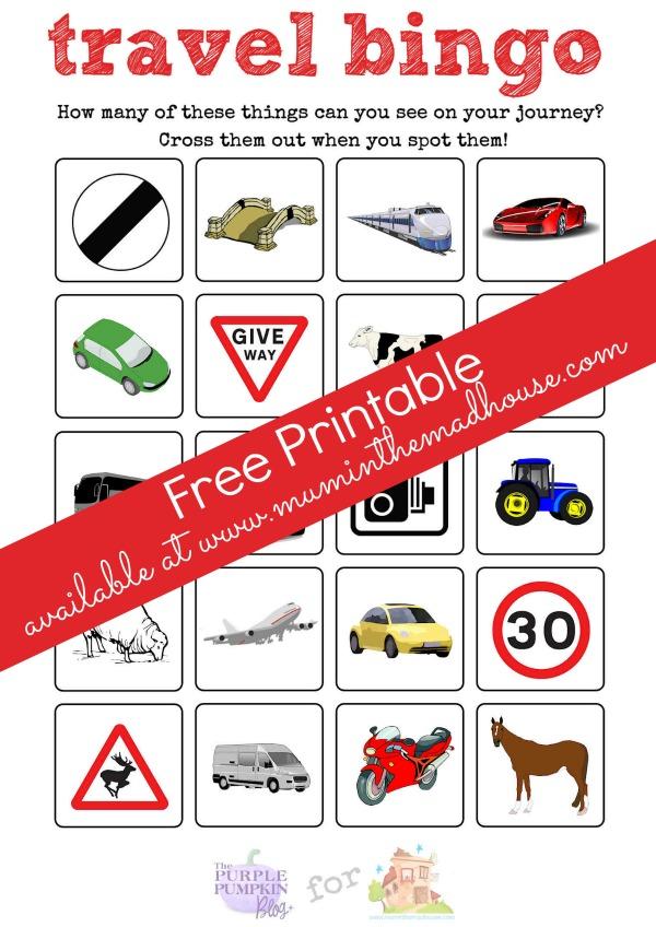 Travel Bingo free Printable