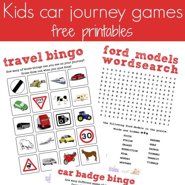 free car journey printables square