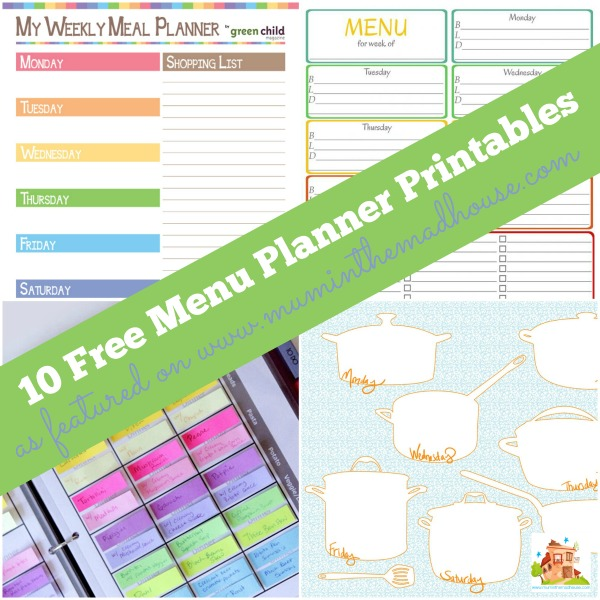 photograph relating to Weekly Meal Planning Printable referred to as 10 Magnificent Cost-free Supper Developing Printables - Mum Within just The Madhouse