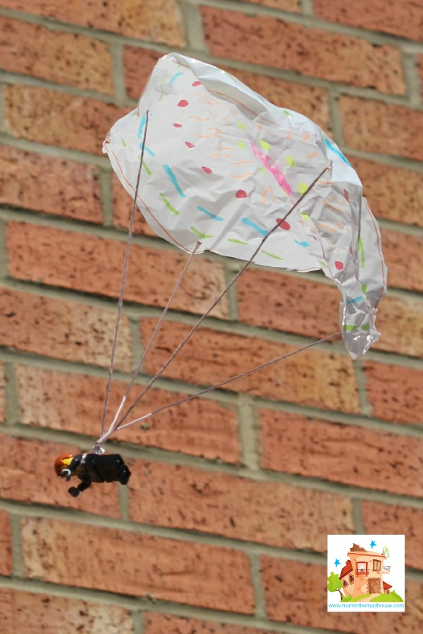 How to make a DIY toy parachute. This fun science activity is simple to make and will provide hours of fun for kids.