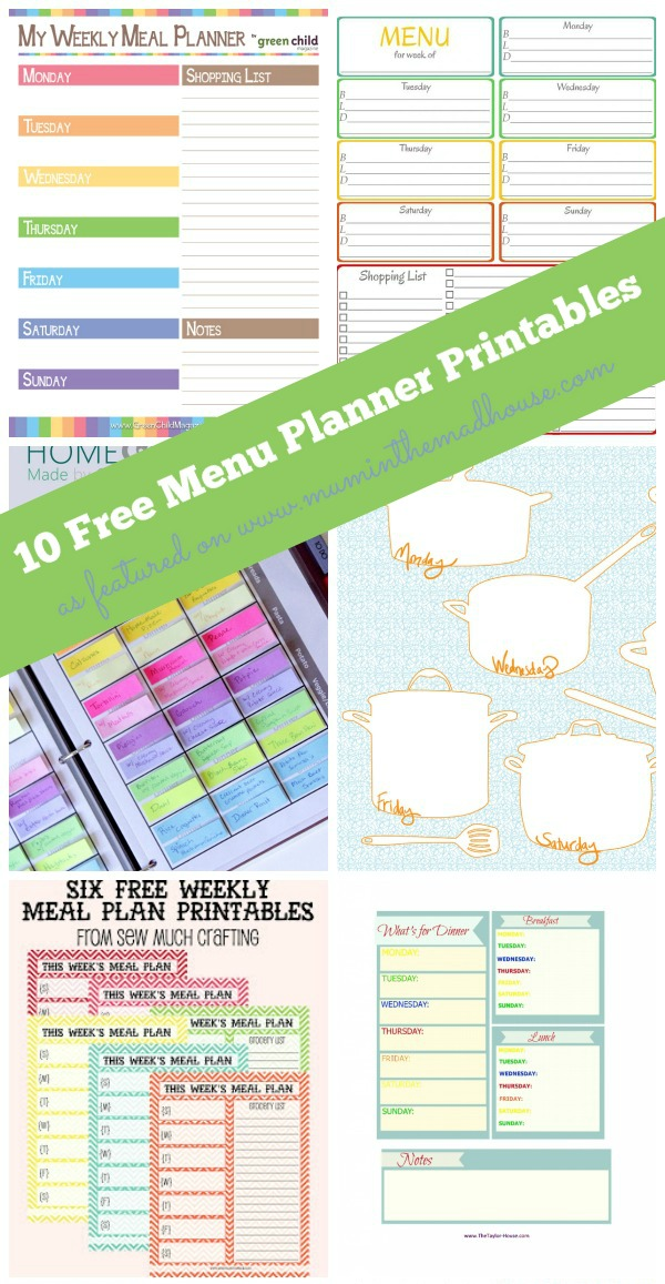 ten free menu planning printables