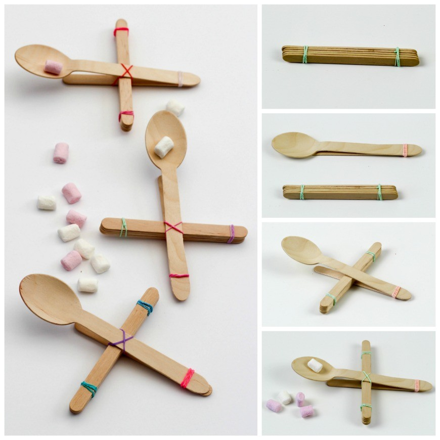Make a lolly or popsicle stick catapult