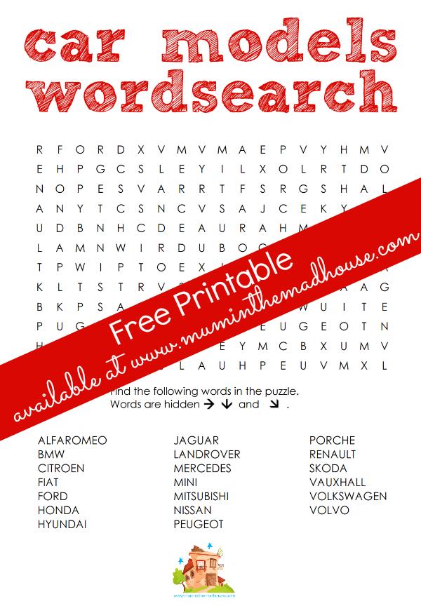 car models wordsearch free printable