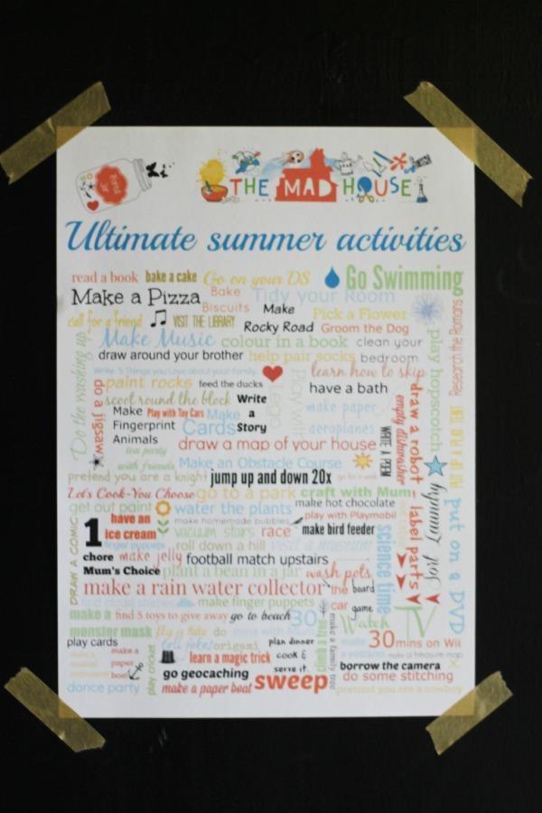 summer activities on chalkboard