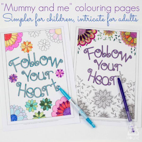 Mummy and me colouring pages