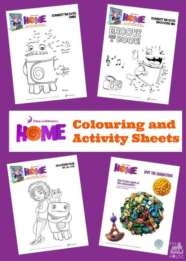 dreamworks home colouring and activity sheets