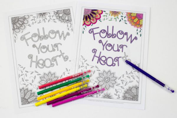 follow your heart intricate colouring page