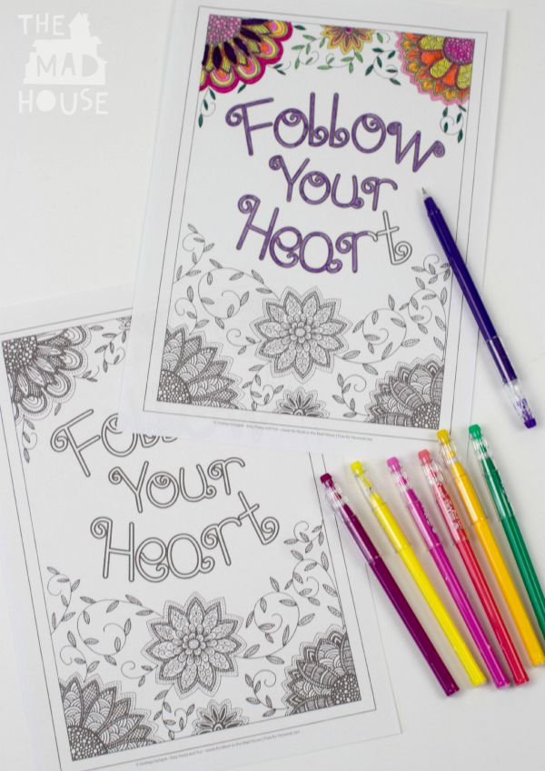 intricate follow your heart adult colouring sheet