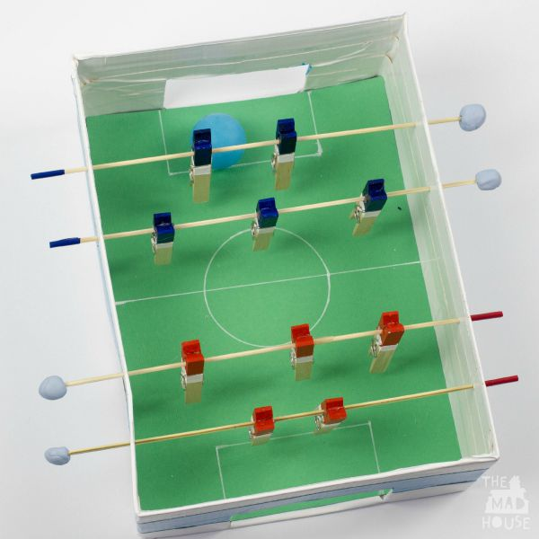 30 Shoe Box Craft Ideas: Shoebox Table Football/foosball Table