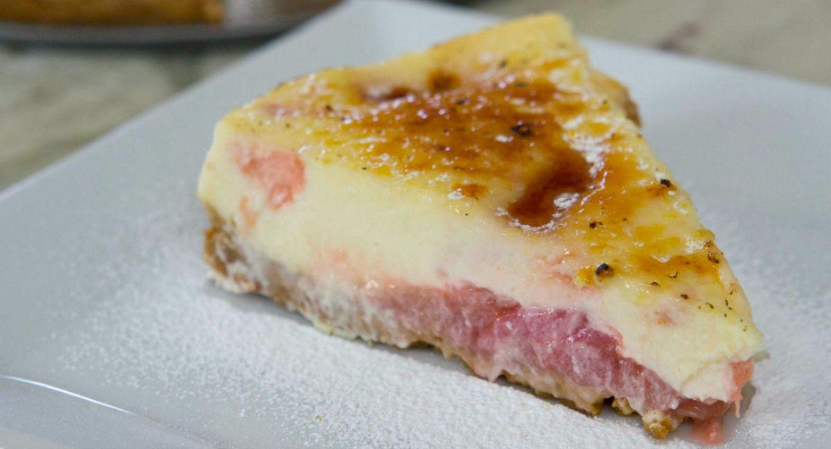 Rhubarb Brulee Cheesecake