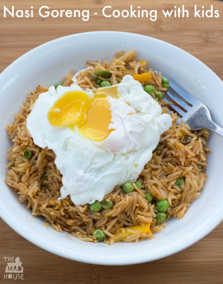 Nasi Goreng or Indonesian fried rice is a great recipe to teach your children. It is a simple and delicious way to use leftover rice.