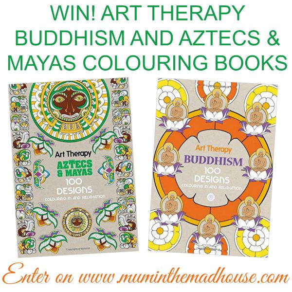 WIN! ART THERAPY BUDDHISM AND AZTECS & MAYAS COLOURING BOOKS