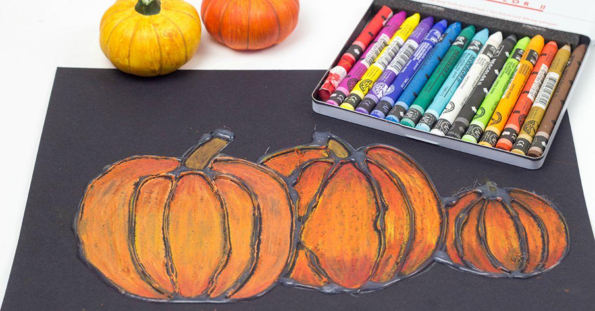 Glue Resist Art Project for Kids – Pumpkin