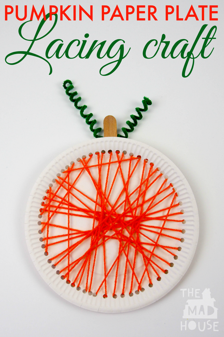 Pumpkin paper plate lacing craft, this simple yarn craft is perfect for children and makes stunning seasonal art