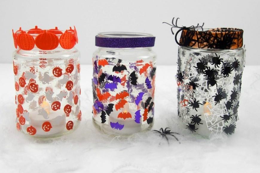 Simple jar lanterns for Halloween