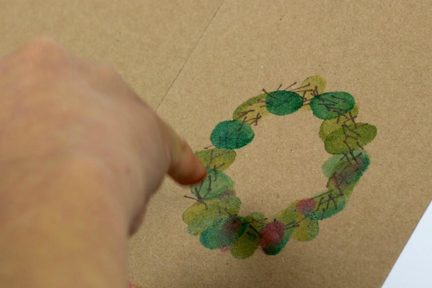 Kid Made Fingerprint Wreath Christmas Card