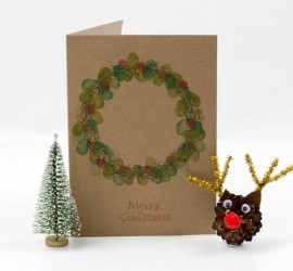 Kid Made Fingerprint Wreath Christmas Card