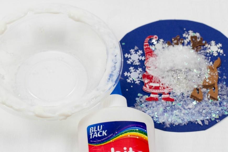 Plastic bowl Snow Globe Art for Kids