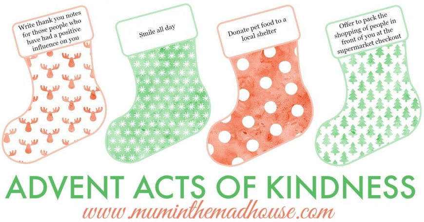 image regarding Free Printable Advent Calendar Template called Introduction Functions of Kindness Absolutely free Printables - Mum In just The Madhouse