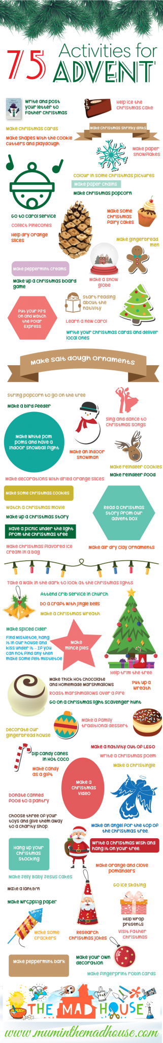 Ultimate advent activity list. Focus on the build up to Christmas with our 75 family activities for advent. There are many low cost or no cost activities for kids of all ages here.