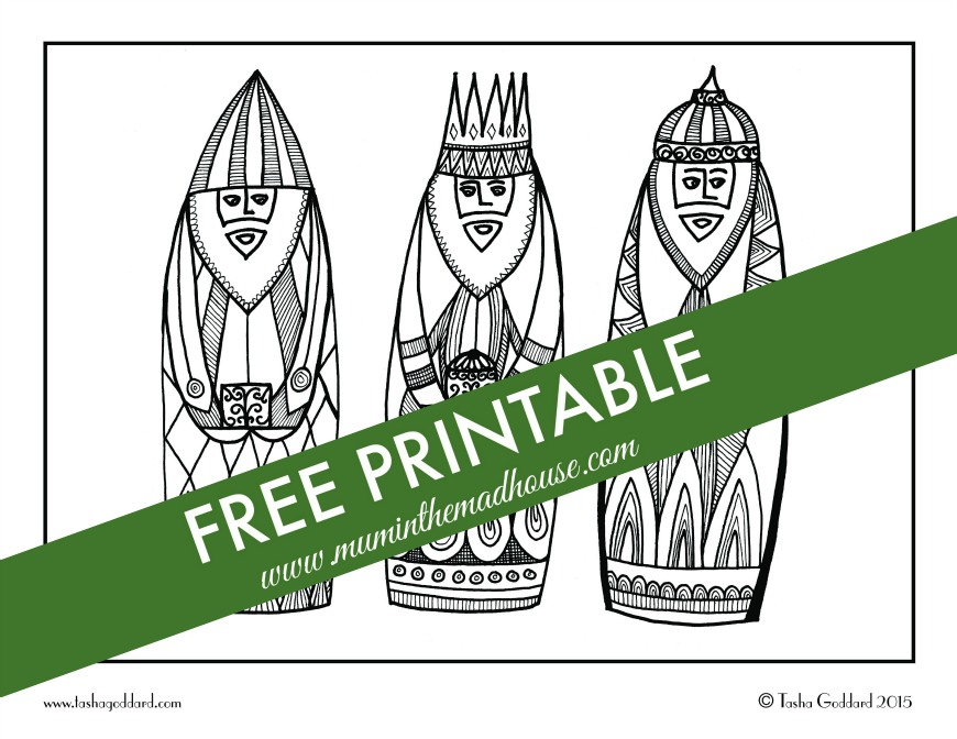 free christmas adult colouring page