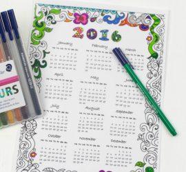 2016 Calendar to colour