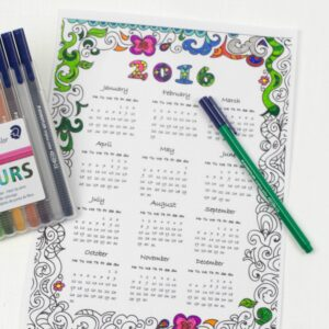 2016 Calendar to colour