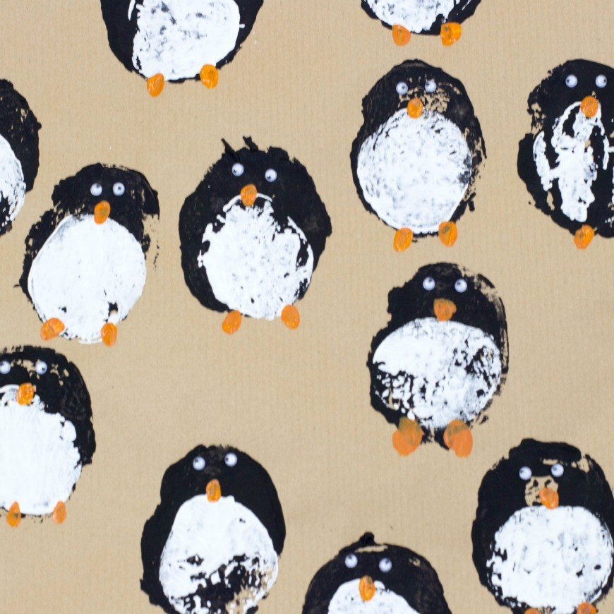 Penguin Christmas Cards Footprint.Diy Gift Wrap Potato Print Penguins Mum In The Madhouse