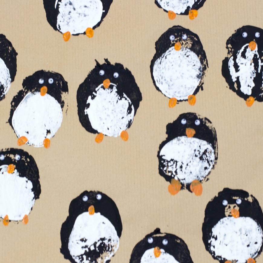 Diy Gift Wrap Potato Print Penguins Mum In The Madhouse