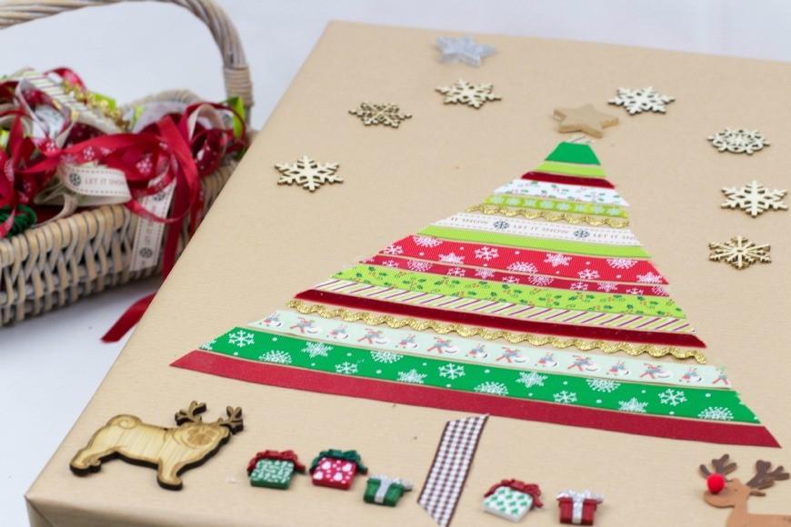 DIY gift wrap - christmas tree 2