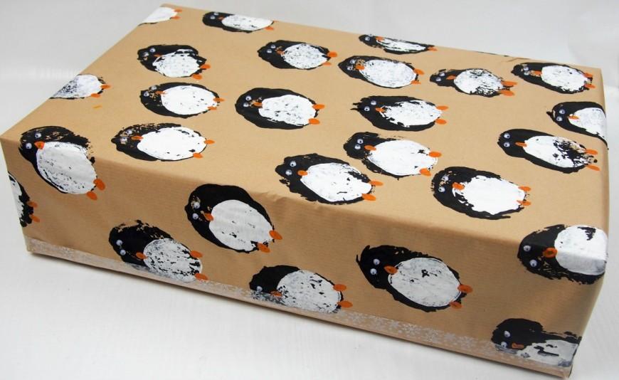 DIY gift wrap - Potato Print Penguins