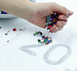 Hot Glue Confetti numbers