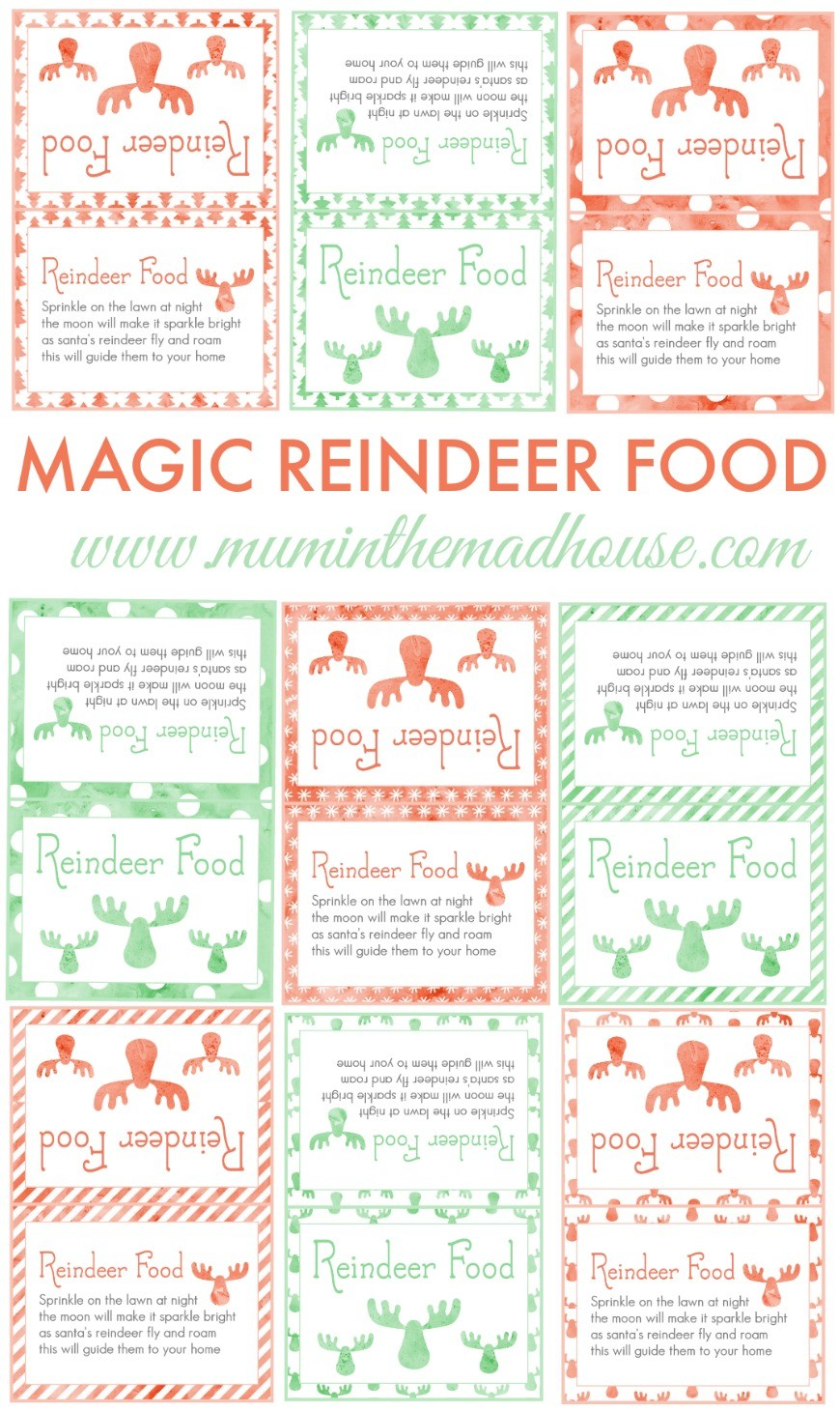 photograph about Reindeer Food Labels Printable named Do-it-yourself Magic Reindeer Foodstuff - Mum In just The Madhouse