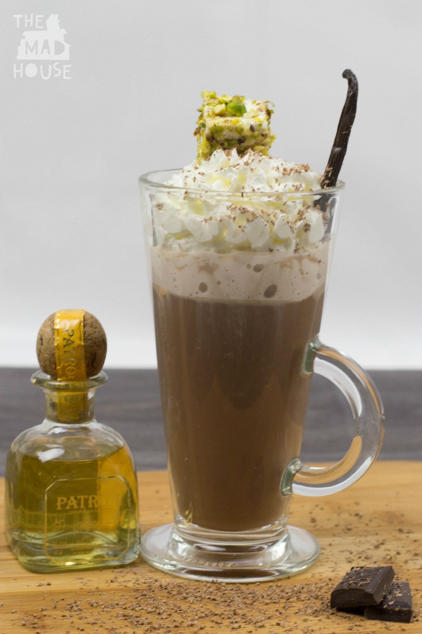 Tequila spiked vanilla hot chocolate