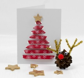 Threaded Ribbon Christmas Cards