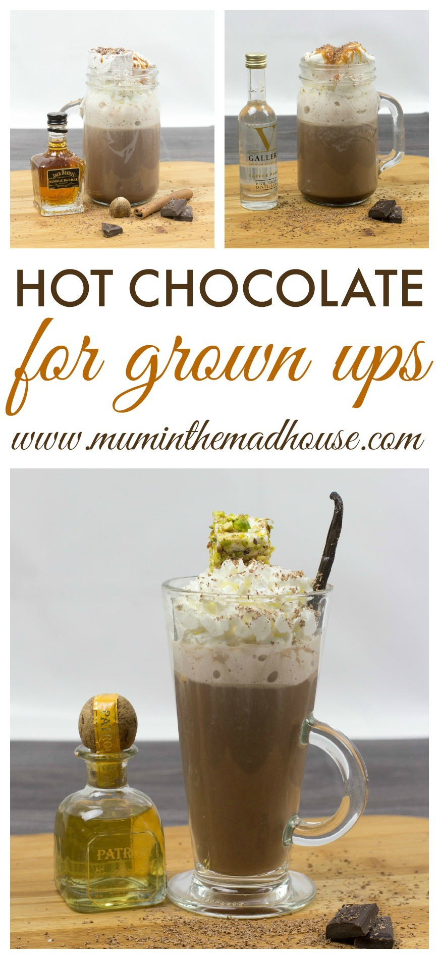 spiked hot chocolate 3 ways