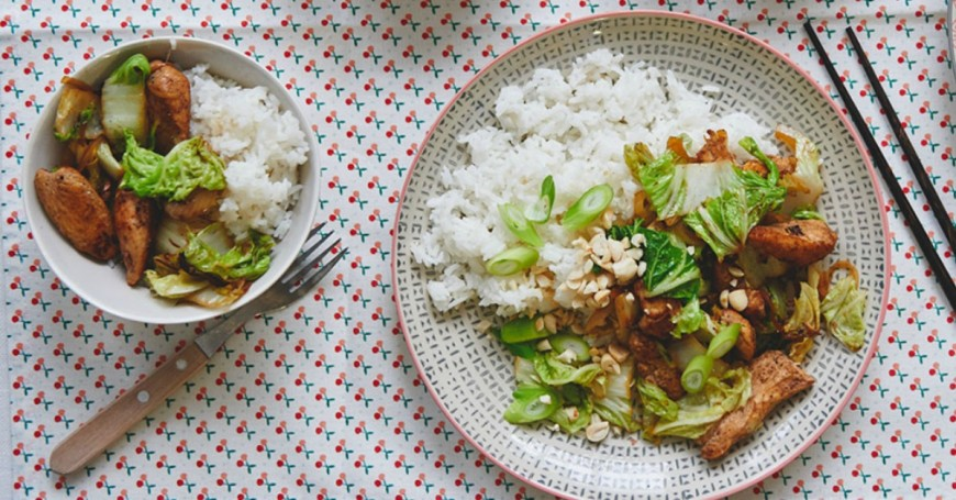 Chinese chicken with hoisin, cabbage & fluffy rice facebook