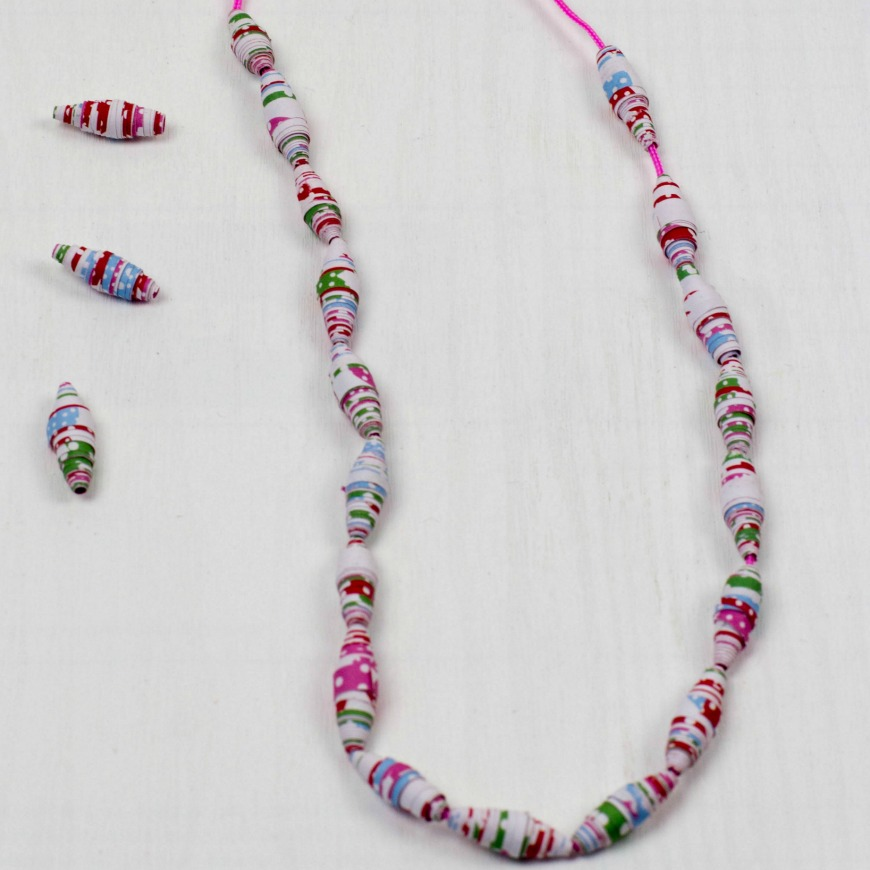 How to make paper beads from wrapping paper - Mum In The Madhouse