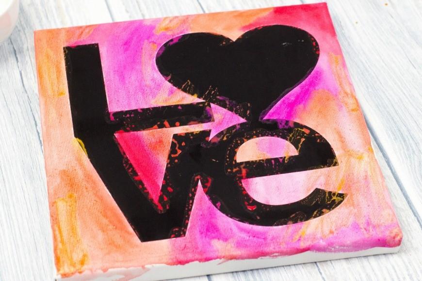 LOVE Watercolour resist canvas