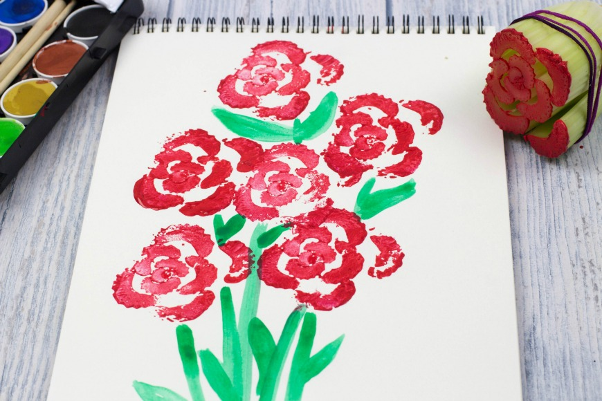 card craft for valentine day - Printing Flowers with Celery Stalks Ve able Printing
