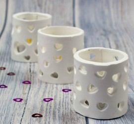 Tea light holders made with microwave drying clay