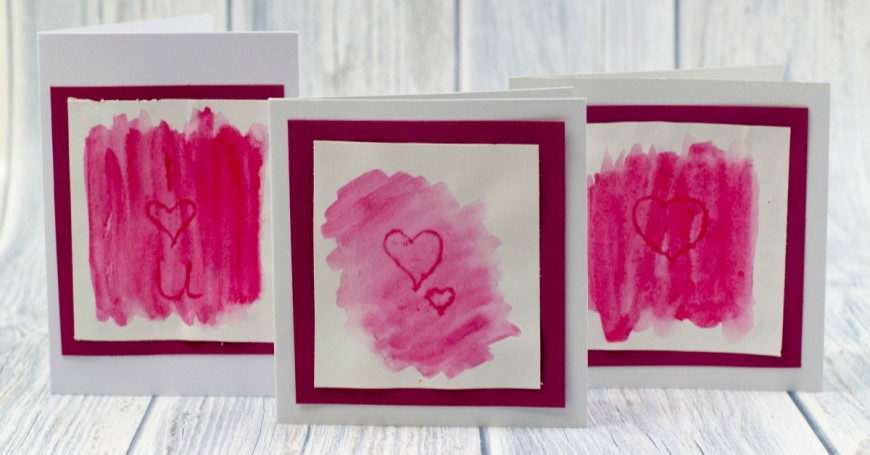 Watercolour Indent Valentines Cards facebook
