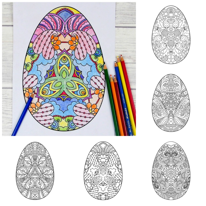 Five Intricate Adult Easter Colouring Pages Download Your Free Egg Printables These