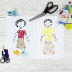 Scrap fabric paper dolls